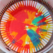 Paper plate spinning with paint to create abstract art.